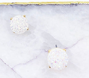 Round Druzy Earrings