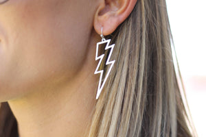 Lightening Bolt Earrings in Silver