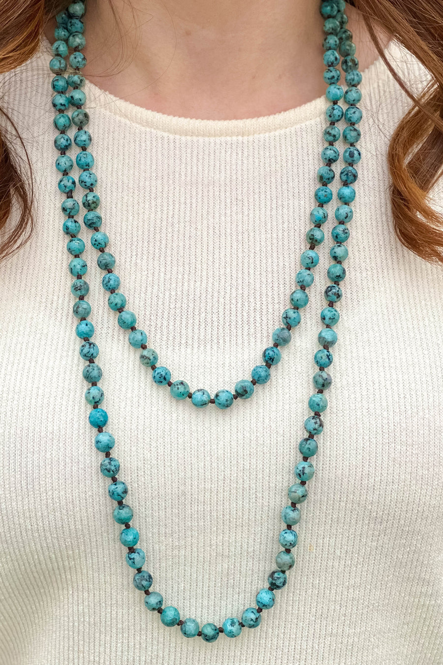 Blue Marbled Necklace