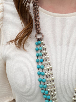West & Co Turquoise and Pearl Necklace ONLINE ONLY