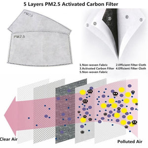 PM2.5 activated carbon filter for reusable cloth masks