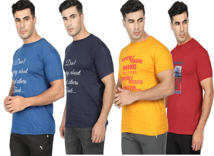 Round Neck T-Shirt-Navy Blue, Yellow, Blue ,Red -Pack Of 4