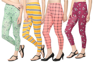 Printed Churidar-Length Leggings-Pack of 4