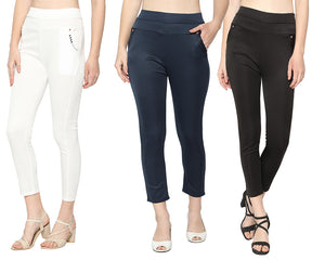Women's Black ,White & Navy Blue Solid Pants-Pack of 3