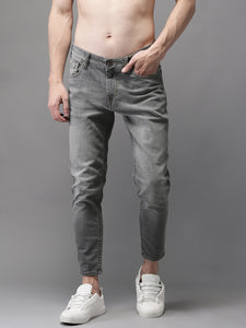 Men Grey Slim Fit Mid-Rise Stretchable Cropped Jeans