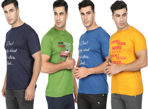 Round Neck T-Shirt-Navy Blue, Yellow, Blue ,Green -Pack Of 4