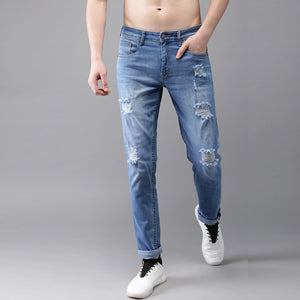 Blue Slim Fit Mid-Rise Highly Distressed Stretchable Jeans
