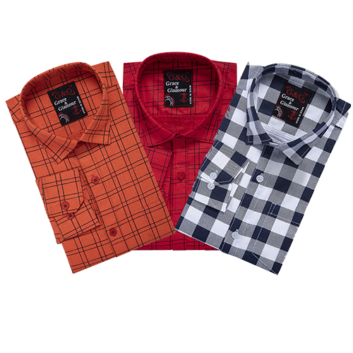 Grace & Glamour Cotton Blend Shirt(Pack of 3)