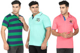 Cyan ,Green Stripe & Orange  Cotton Polo Collar Half Sleeve T-Shirt-Pack of 3