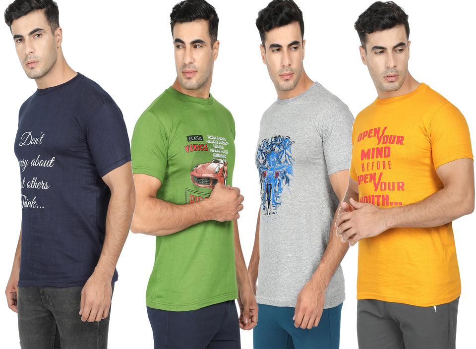 Round Neck T-Shirt-Navy Blue, Yellow, Grey ,Green -Pack Of 4