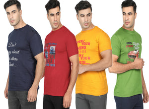 Round Neck T-Shirt-Navy Blue, Yellow,Red ,Green -Pack Of 4