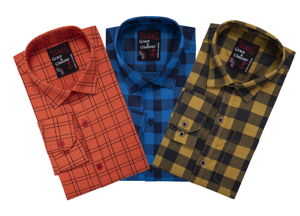 Grace & Glamour Cotton Blend Shirt (Pack of 3)