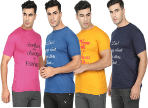 Round Neck T-Shirt-Navy Blue, Yellow,Pink ,Blue -Pack Of 4