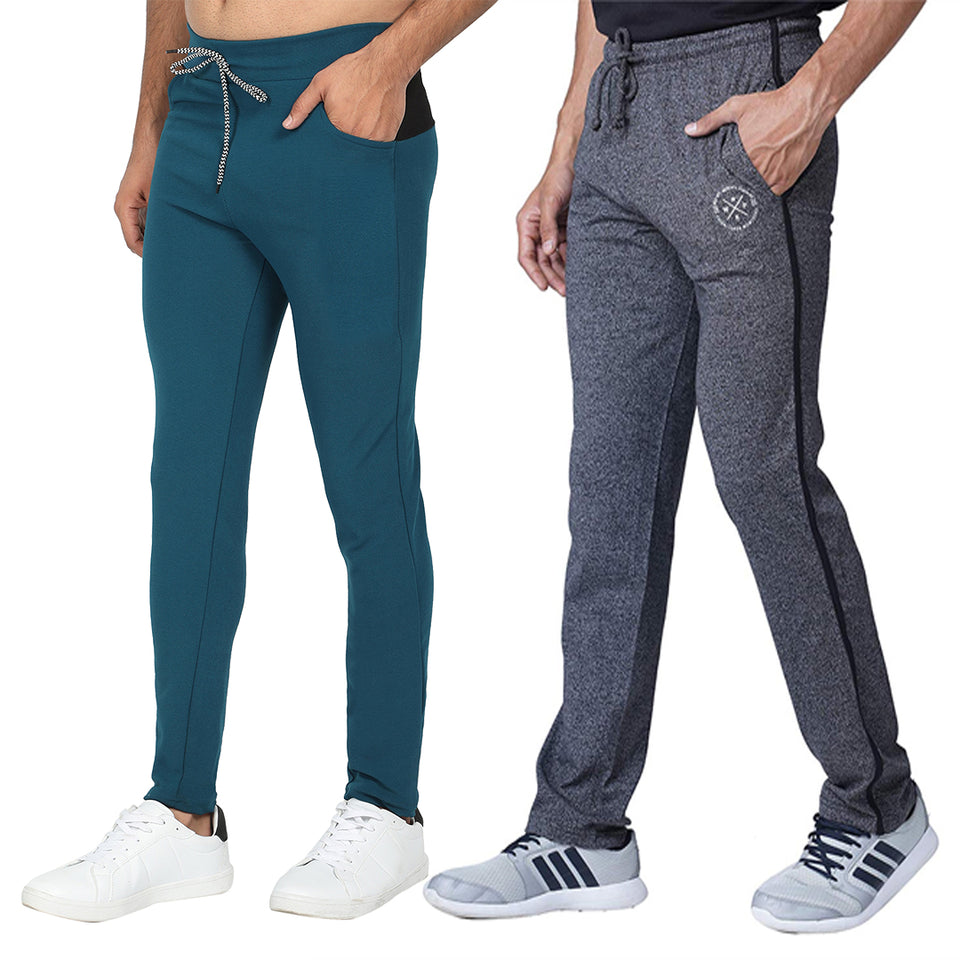 Grey and  Blue  Mens-Joggers-Pack of 2