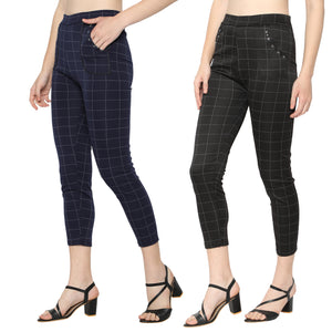 Women's Navy Blue & Black Check Solid Pants-Pack Of 2
