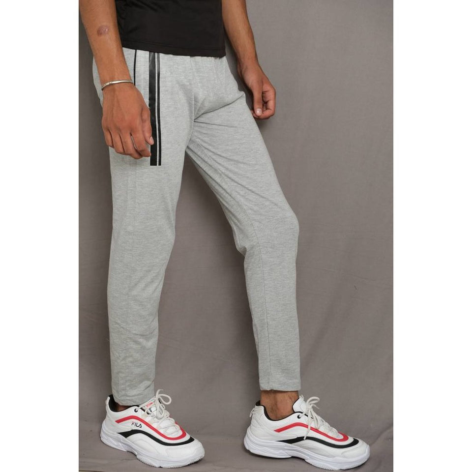 MEN'S GREY COTTON SELF PATTERN REGULAR TRACK PANTS