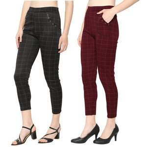 Women's Red & Black Check Solid Pants-Pack Of 2