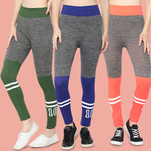 Women Orange,Blue & Green  Designer Solid Skinny Fit Jeggings-Pack of 3