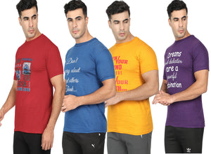 Round Neck T-Shirt- Blue, Red,Yellow ,Purple -Pack Of 4