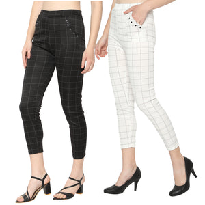 Women's White & Black Check Solid Pants-Pack Of 2