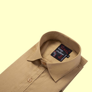 Cotton Full Sleeve Plain Shirt-Durty Yellow