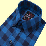 Casual Single Shirt for Men-Blue-Black check