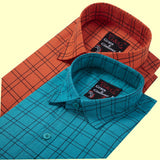 COTTON FULL SLEEVE LINE CHECK SHIRT FOR MEN - BLUE-RED