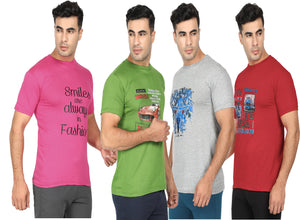 Round Neck  T-Shirt-Pink,Green ,Grey ,Red -Pack Of 4