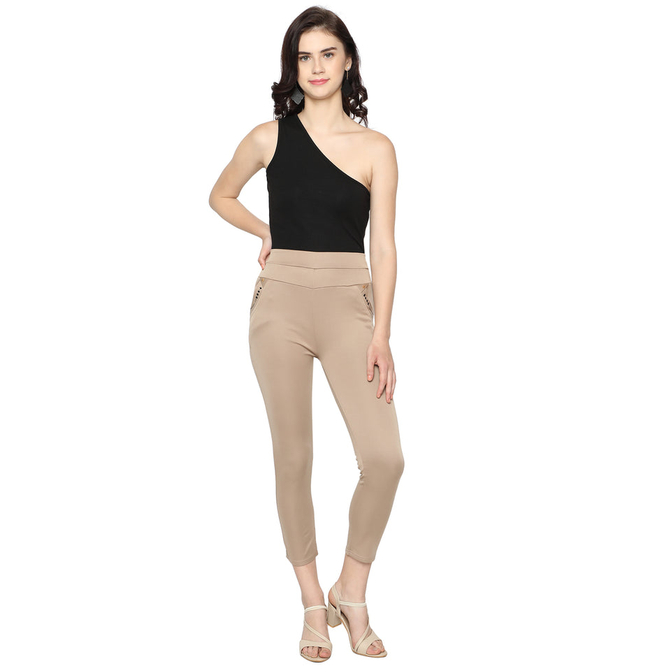 Women's Navy Blue & Brown  Solid Pants-Pack Of 2