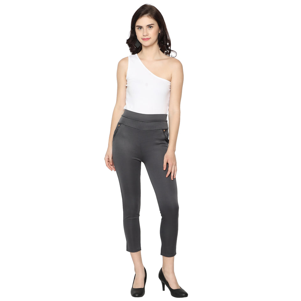 Women's Navy White ,Grey & Brown  Solid Pants-Pack of 3