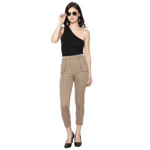 Women's Brown & Grey Check Solid Pants-Pack Of 2