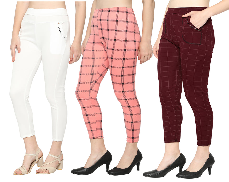 White Pant ,Pink Legging & Red Check Pants-Pack of 3