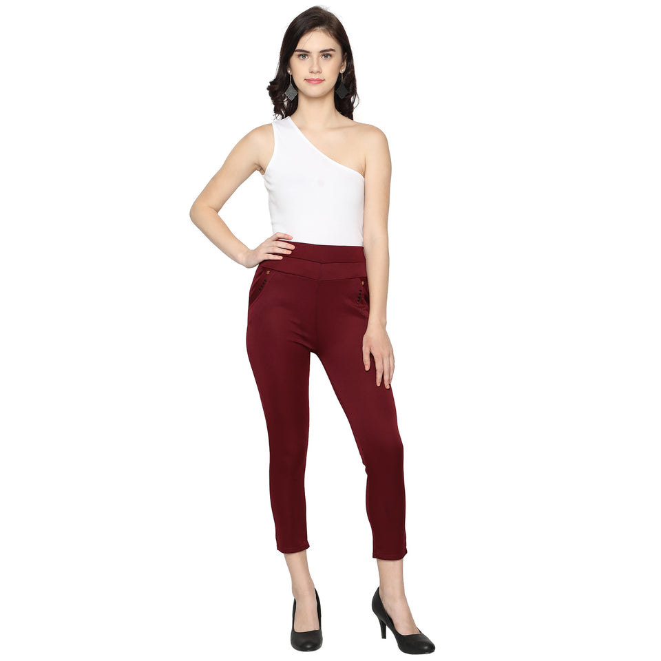 Women's Red & Black  Solid Pants-Pack Of 2