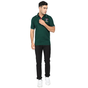 Green & Cyan  Cotton Polo Collar Half Sleeve T-Shirt-Pack of 2