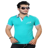 Orange-Cyan Cotton Polo Collar Half Sleeve-Pack of 2