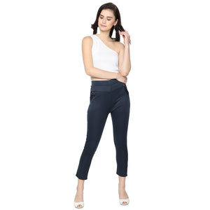 Women's Navy Blue & White Solid Pants-Pack Of 2