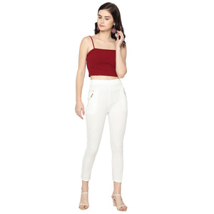 Women's White & Red  Solid Pants-Pack Of 2