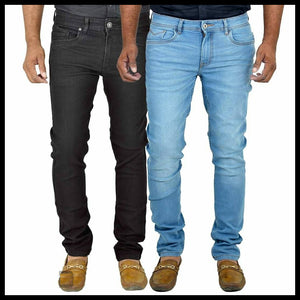 MEN'S MULTICOLOR SLIM FIT STRETCHABLE FABRIC CASUAL WEAR DENIM JEANS (PACK OF 2)