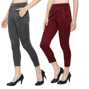 Women's Grey & Red  Solid Pants-Pack Of 2
