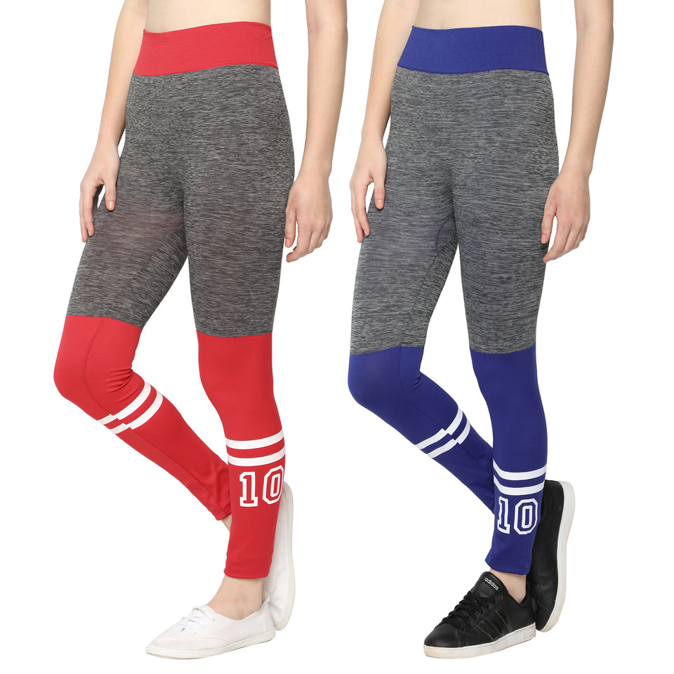 Women Blue & Red  Designer Solid Skinny Fit Jeggings-Pack of 2