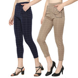 Women's Navy Blue & Brown Check  Solid Pants-Pack Of 2