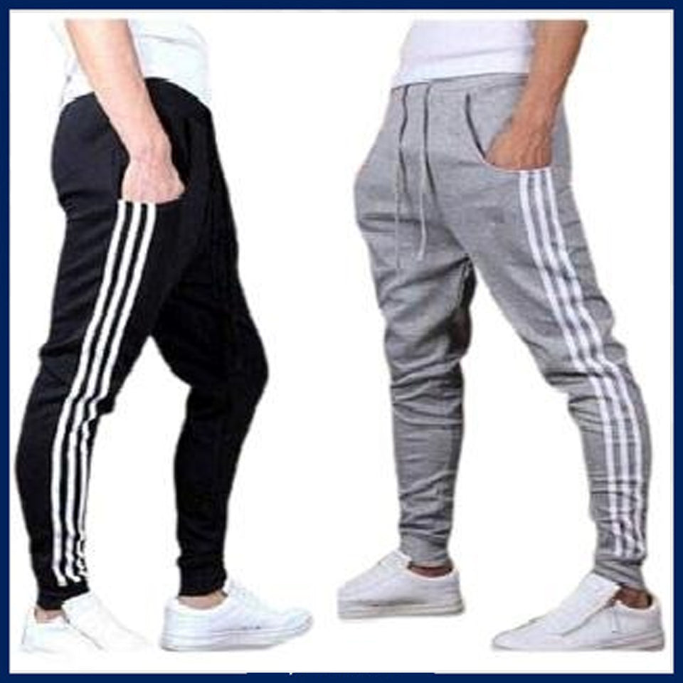 Black and Grey Stripe Men's- Joggers-Pack of 2