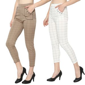 Women's White & Brown Check Solid Pants-Pack Of 2