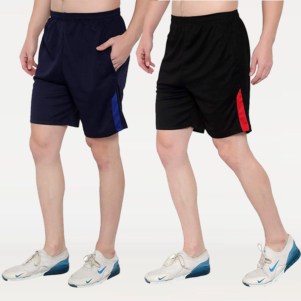 Black & Navy Blue  Men's Casual Shorts-Pack of 2