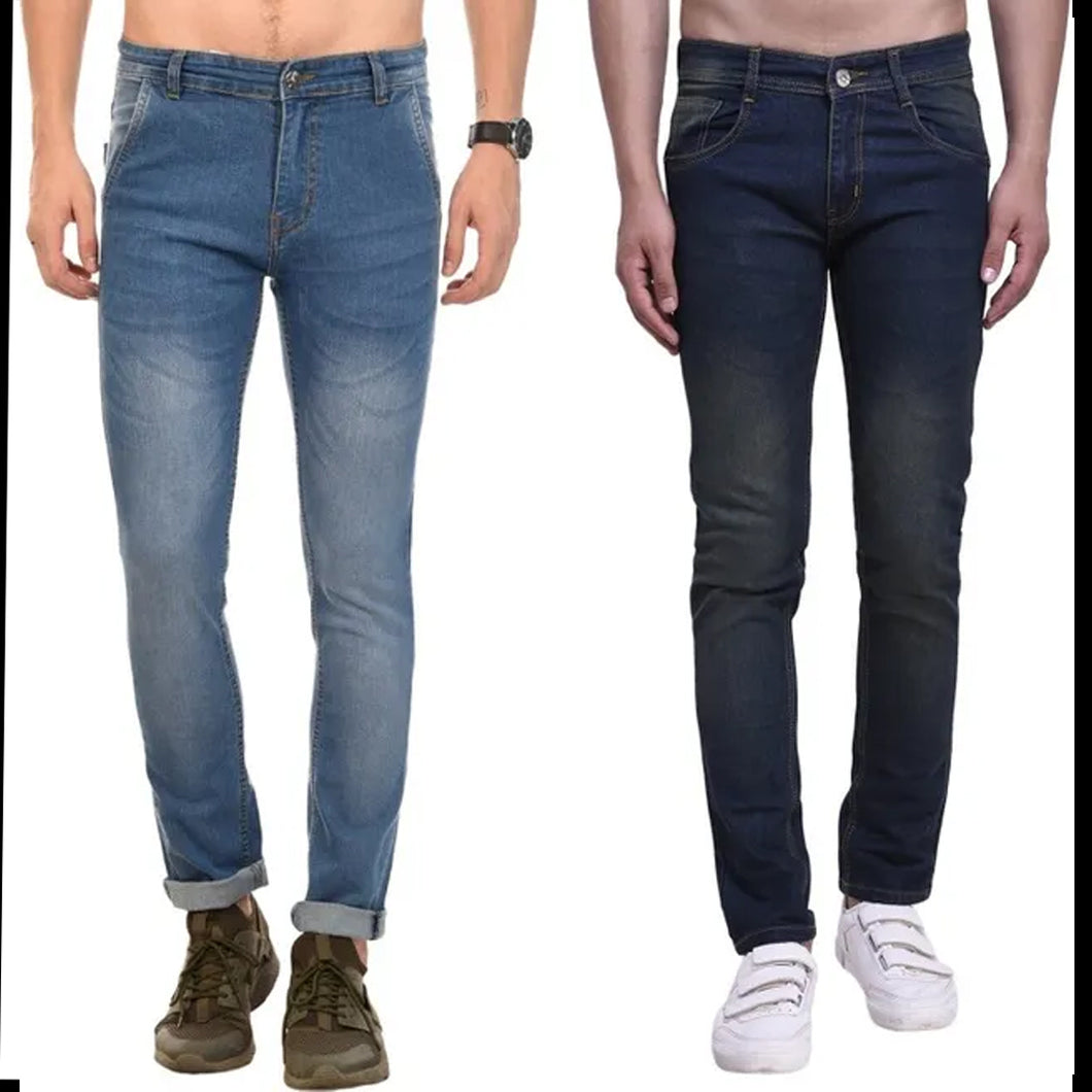 MEN SLIM FIT STRETCHABLE JEANS:- PACK OF 2