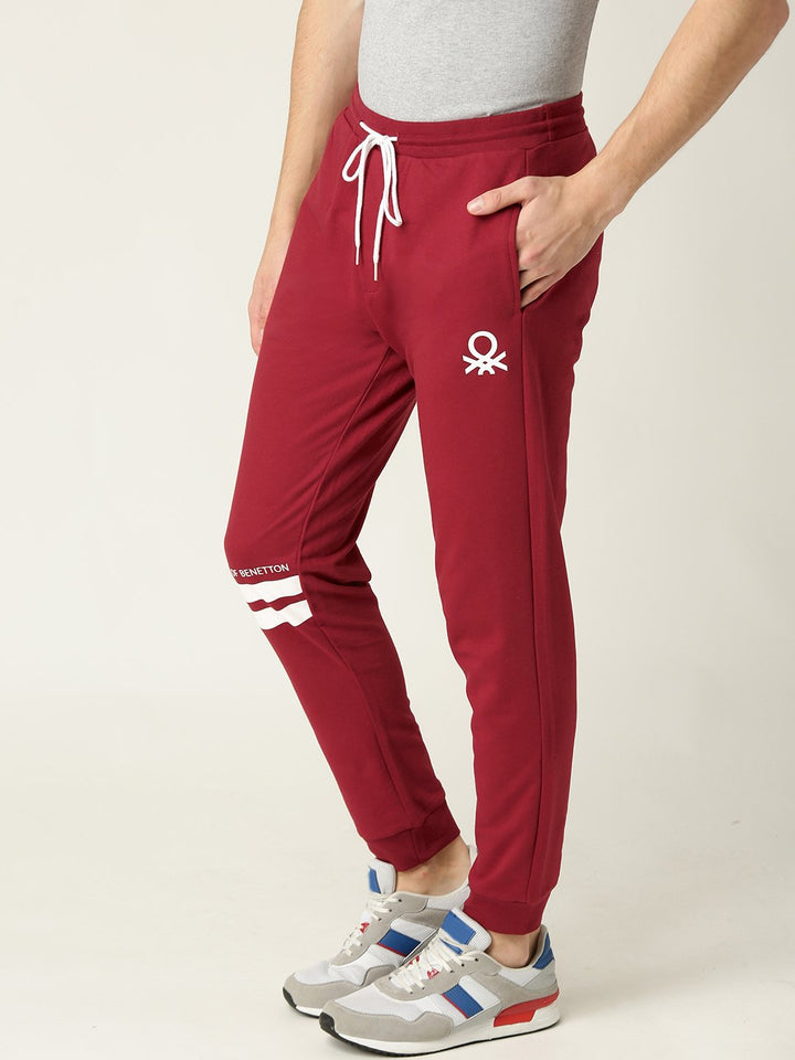 Solid Men Red Track Pants