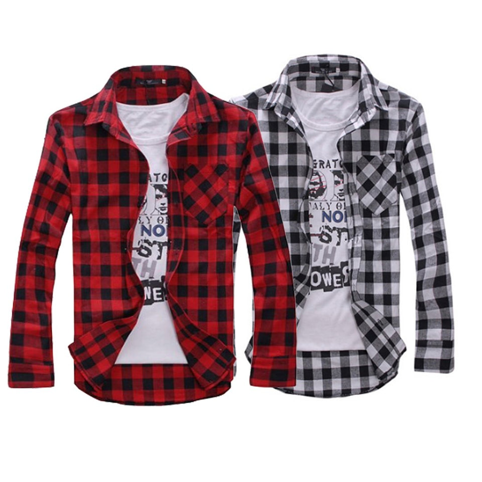 Combo of 2 Cotton Full Sleeve Check Shirts for Men White-Red