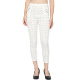 Women's White, Black & Brown Check Solid Pants-Pack of 3
