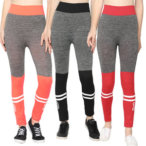 Orange,Black & Red Designer Solid Skinny Fit Jeggings-Pack of 3