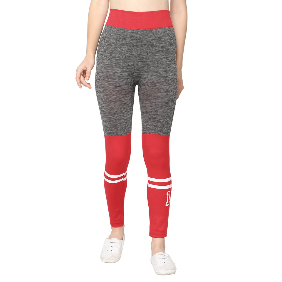 Blue Printed Leggings, Green Palazzo & Red Grey Jeggings- Pack of 3